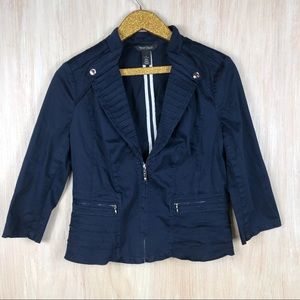 WHBM Blue Zip Closure Front Cropped Blazer Jacket